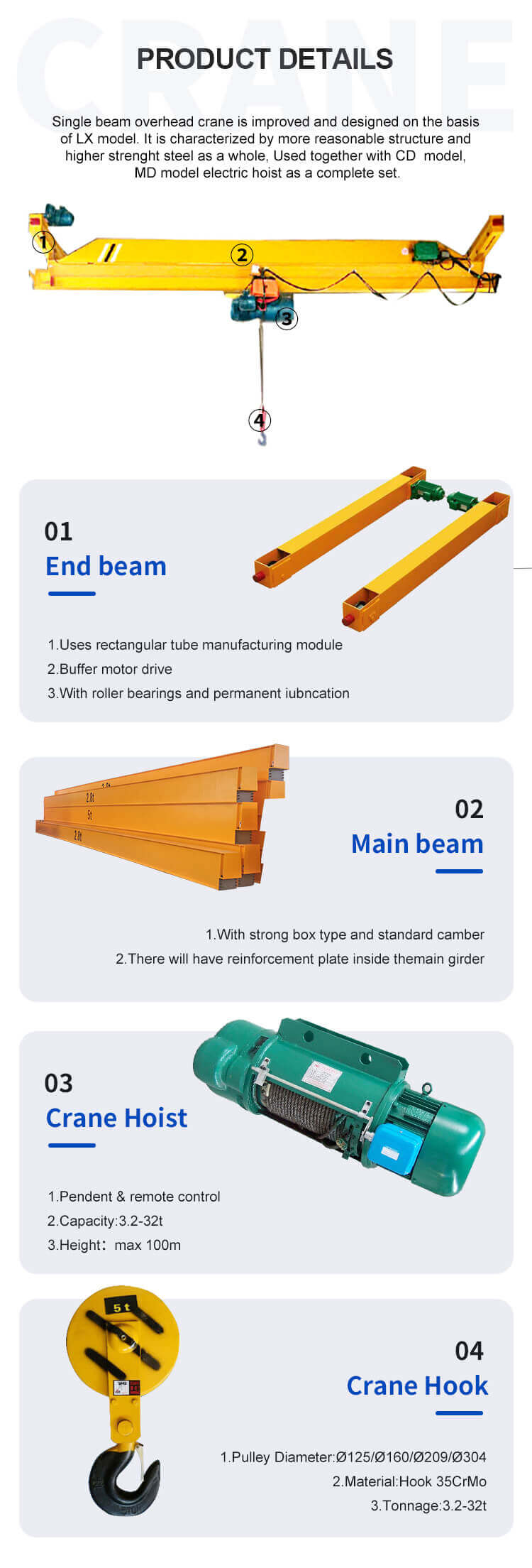 hot selling customized electric lx type suspension overhead crane 7