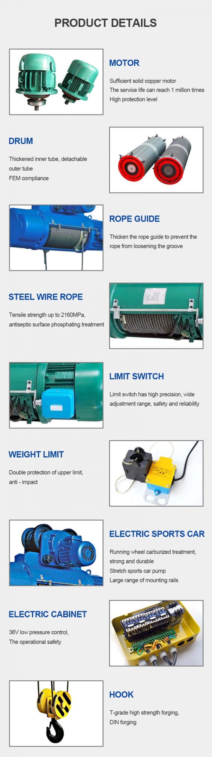 hot selling general use electric wire rope hoist 9